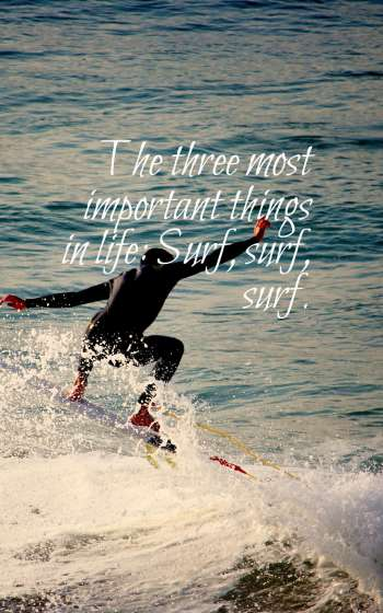 The three most important things in life Surf, surf, surf.