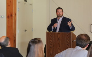 2016 First Amendment Award winner Lucas Sullivan, reporter for The Columbus Dispatch, addresses the crowd at the Central Ohio SPJ Founders Day celebration April 20, 2016, inside the Amelita Mirola Barn at Upper Arlingtons Sunny 95 Park.