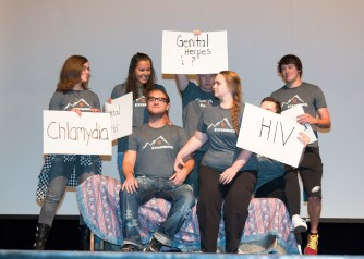 RA's, student senate and student ambassador's performed a skit on safe sex and STD's.
