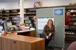 Admissions team in their new temporary home in the library!
