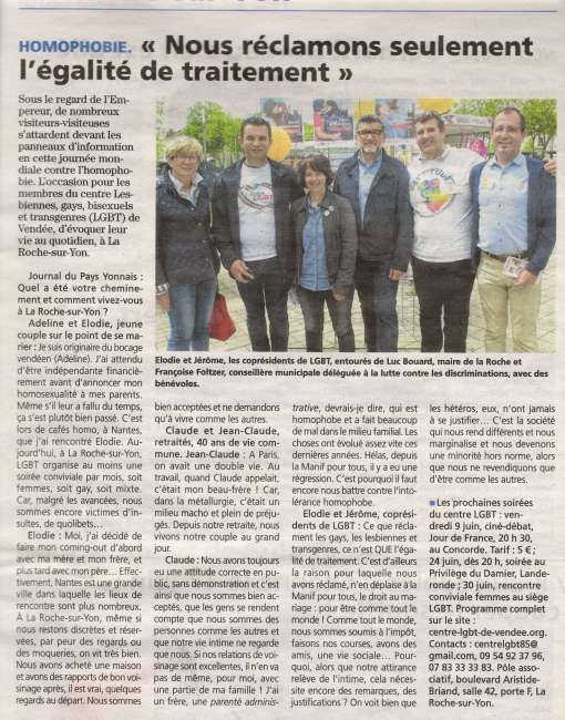 article du journal du pays yonnais