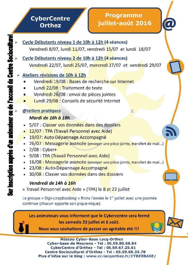 CyberCentre Programme_juillet_août_2016