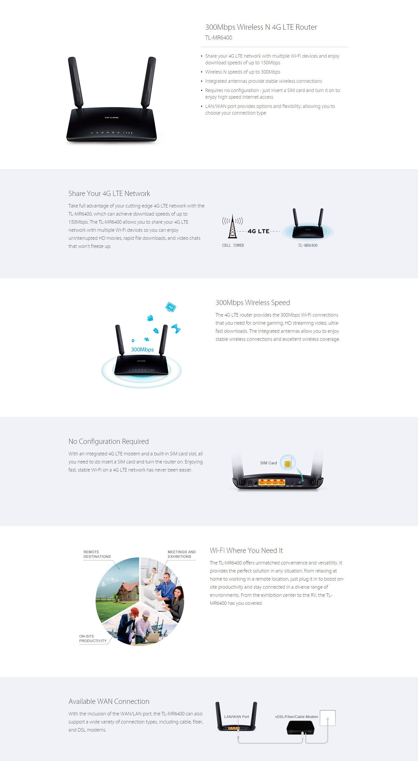 TP-LINK TL-MR6400 300Mbps 3G 4G LTE Wireless N Router
