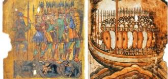Normands dans un drakkar attaquant Guérande. Enluminure tirée de la Vie de saint Aubin, manuscrit du XIe siècle provenant de l'abbaye Saint-Aubin d'Angers (BnF)