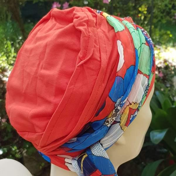 Belle Ile BEL1 Soie rouge - Foulard chimio Joceli de derrière
