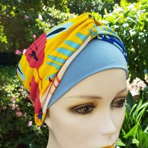 Groix GRO2, turban bandeau chimio, jaune batik