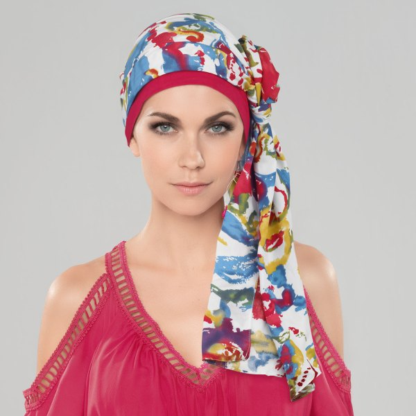 Garbo rouge - Bonnet bandana chimio de la collection Ellen's Headwear.