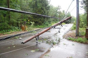 Trees and power lines came down near Grand Bend as a severe storm moved through Lambton Shores on July 27, 2014. Damage to a power line is shown in this file photo taken right after the storm. While much of the cleanup has been carried out, some signs of the storm still remain in the community. (File photo/ Postmedia Network)