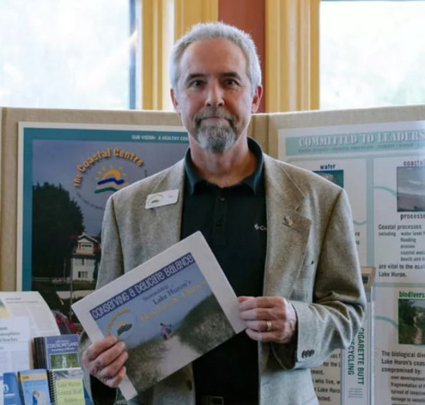Pat Donnelly, Coastal Science and Stewardship advisor, poses for a photo following his presentation Oct. 20 during the first Lake Huron Municipal Forum at Goderich's Beach Street Station. (Darryl Coote/The Goderich Signal Star)