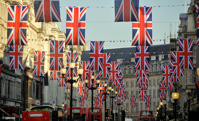 Union Jack flags hanging in London's Regent Street to mark the Royal Wedding in 2011.  taken by raghavvidya on flickr https://www.flickr.com/photos/rk_photos/5643943041/in/photostream/