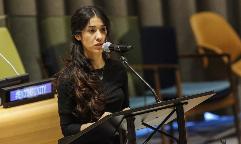 Nadia Murad adresses the United Nations. (photo: APF)