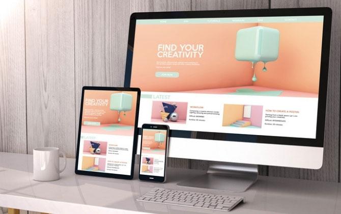 Vista de una página Web en diferentes tamaños de pantalla.