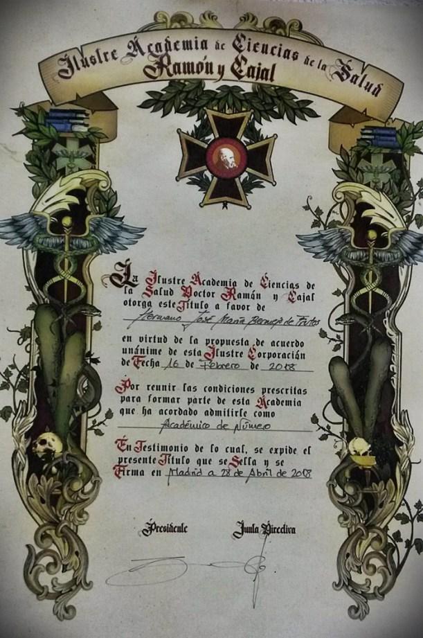El Centro San Juan de Dios, nombrado Académico Numerario de la Ilustre Academia de Ciencias de la Salud Ramón y Cajal