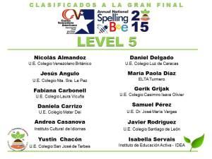 CLASIFICADOS SB2015_LEVEL 5