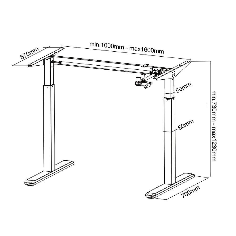 Telaio per scrivania regolabile con manovella MC-790