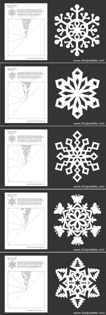 Płatki śniegu z kartki lub serwetki