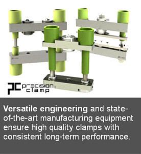 image of 3 scr clamps floating on a white background, with a caption in the image that states: versitile engineering and state-of-the-art manufacturing equipment ensure high quality scr clamps with consistant long-term performance