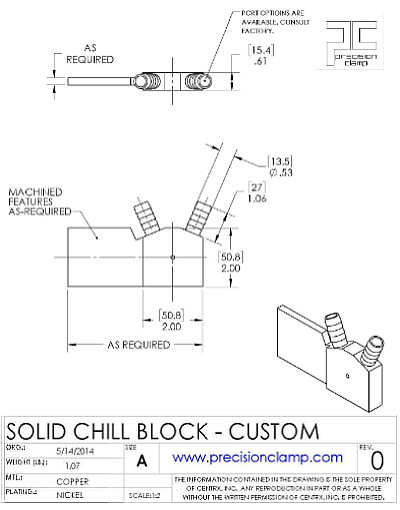 Diagram of a solid body chill block