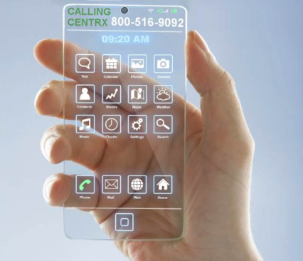 An image of a transparent mobile phone and a mans hands dialing for Centrx at the top of the phone it says calling....centrx 800-516-9092