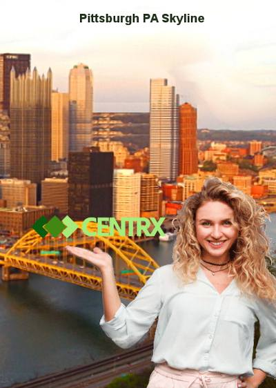 and image of the pittsburgh PA skyline with a blonde woman holding up the centrx logo it's a sunny day and she is smiling wide