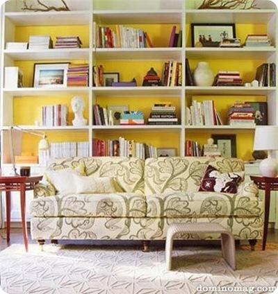 domino yellow backed bookshelf