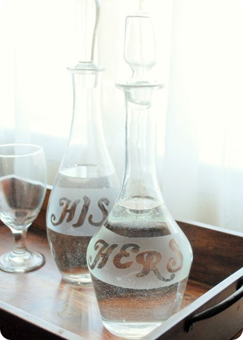 his and hers frosted glass carafe