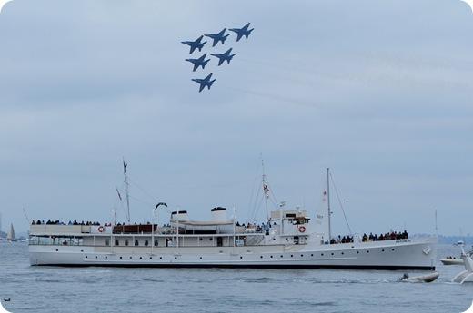 blue angels over ship