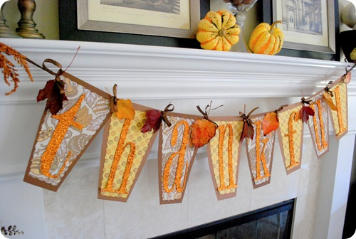 thankful banner on mantle