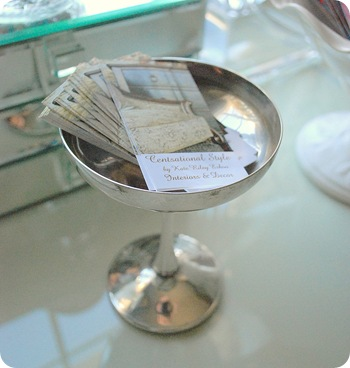 business cards in champagne glass
