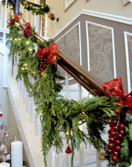 garland up stairs