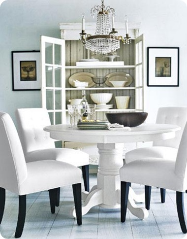 white dining room country lving