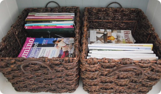 magazines in baskets