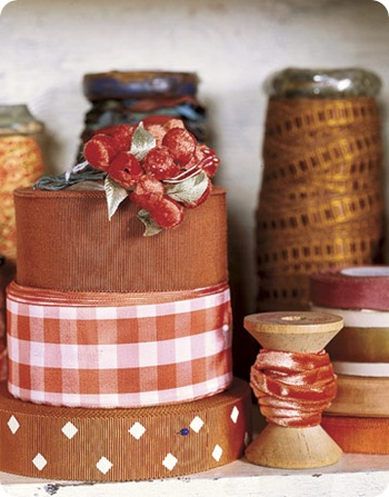 ribbons on a shelf country living
