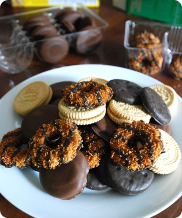 girl scout cookies on plate