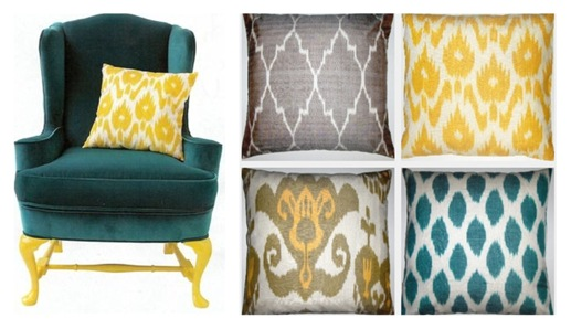 ikat and chair collage