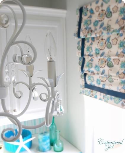 cg chandelier in laundry room