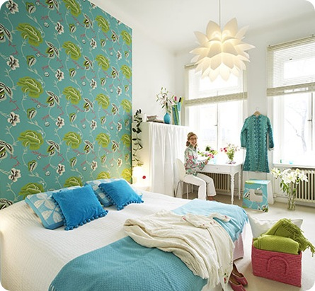 wallpaper headboard house of turquoise