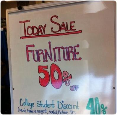 furniture 50 percent off