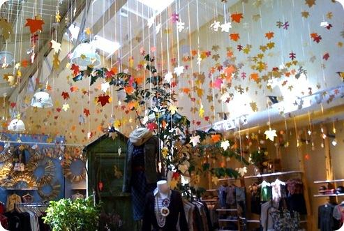 leaves strung in store