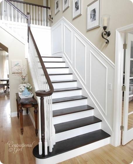 Finished Staircase Centsational Style | Oak Stairs With White Risers | Natural | Red Oak | Character | Hardwood | Dark Walnut Staircase