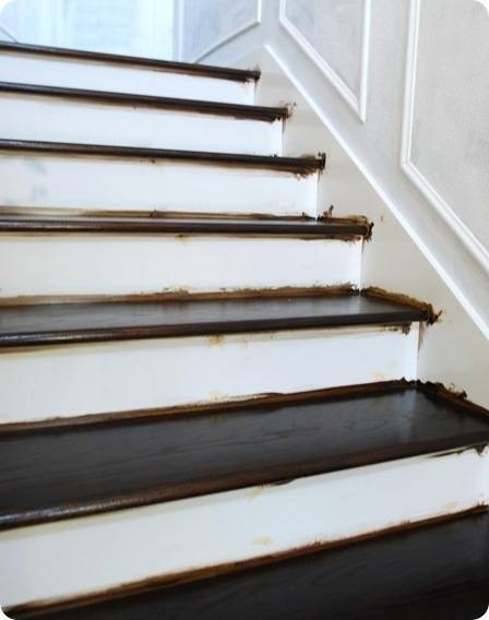 Finished Staircase Centsational Style | Dark Wood Stairs With White Risers | Wall | Beautiful Wood | Wooden | Modern | Floor