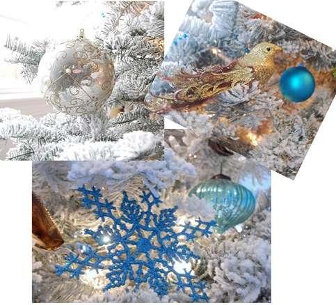 blue gold ornaments
