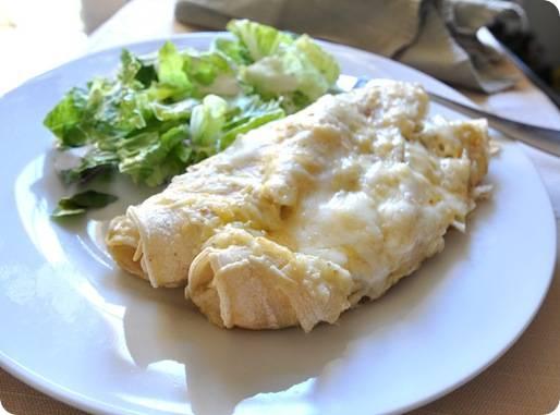 green enchiladas on plate