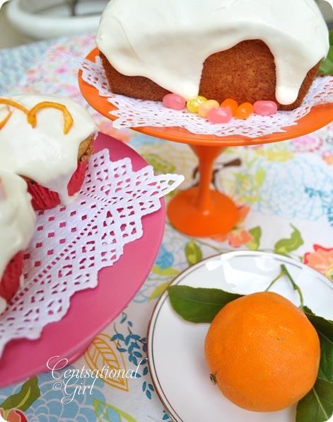 cg orange and pink dessert stands