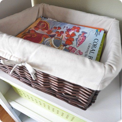 coloring books in basket