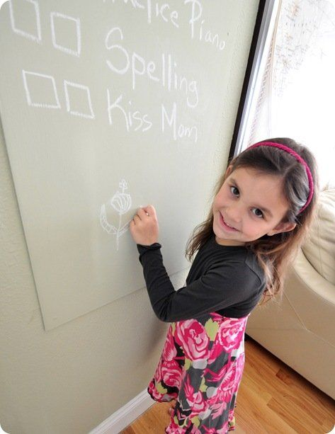 girl drawing on chalkboard