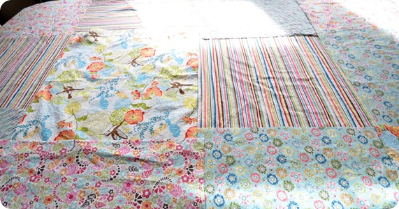 lay fabric on table