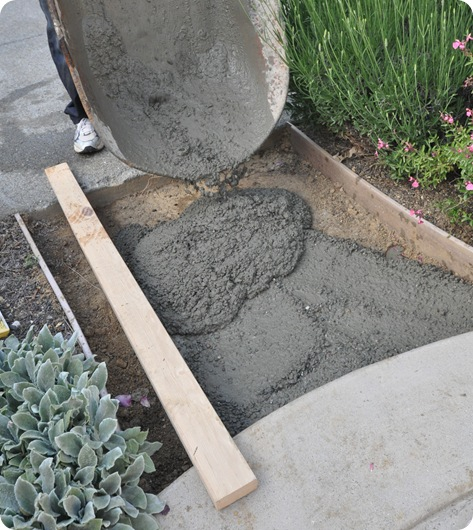 fill walkway with cement