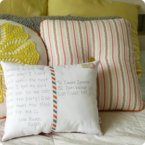 postcard pillow by olive via apt therapy