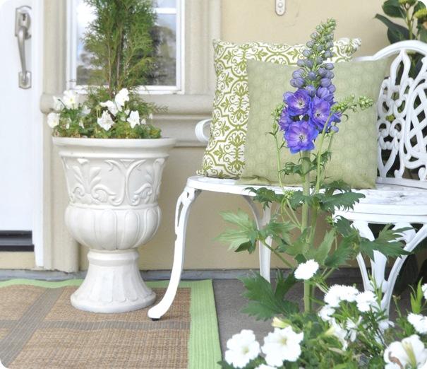 blue delphinium white urn